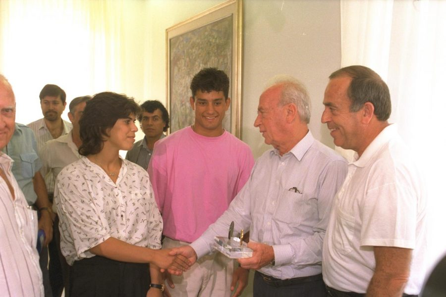 JULY 30: Prime Minister Yitzhak Rabin meets with silver medalist Yael Arad and bronze medalist Oren Smadja on Aug. 31, 1992, to celebrate their Olympic success. Photo by Ya'acov Sa'ar, Israeli Government Press Office