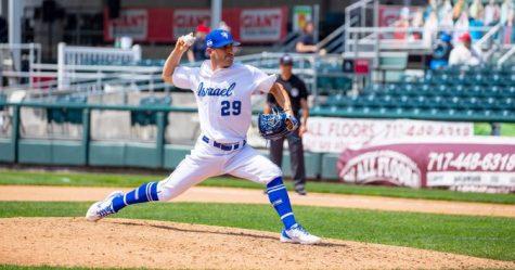 Alon Leichman in action. (Photo: Margo Sugarman / Israel Baseball)