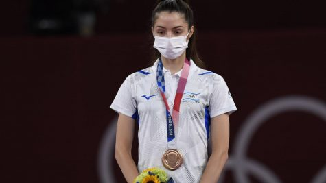 Avishag Semberg with her bronze medal at the Tokyo Olympics. Photo courtesy of Israel Olympic Committee