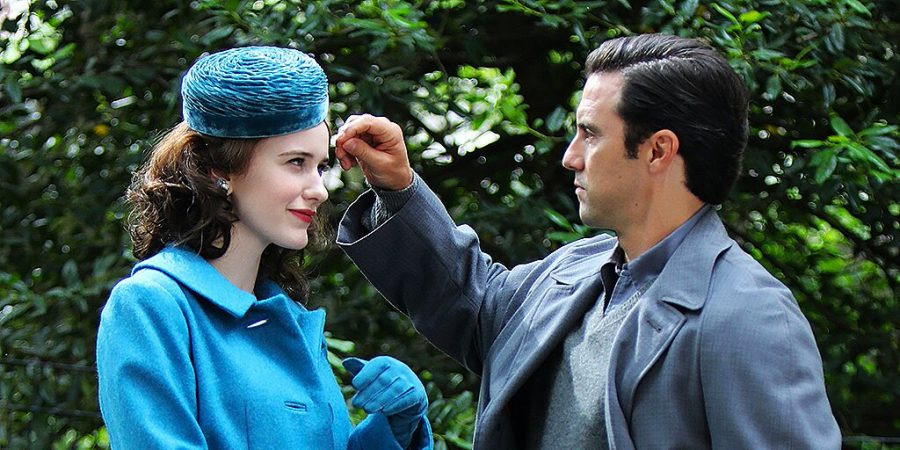 NEW YORK, NY - JUNE 10: Rachel Brosnahan and Milo Ventimiglia are seen on the set of The Marvelous Mrs Maisel on June 10, 2021 in New York City.  (Photo by Jose Perez/Bauer-Griffin/GC Images)