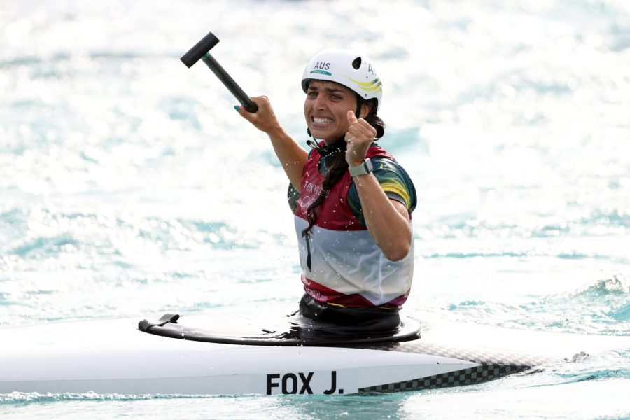 Jessica+Fox+of+Team+Australia+reacts+after+her+winning+run+in+the+Womens+Canoe+Slalom+final+in+the+Tokyo+Olympics.+%28Harry+How%2FGetty%29
