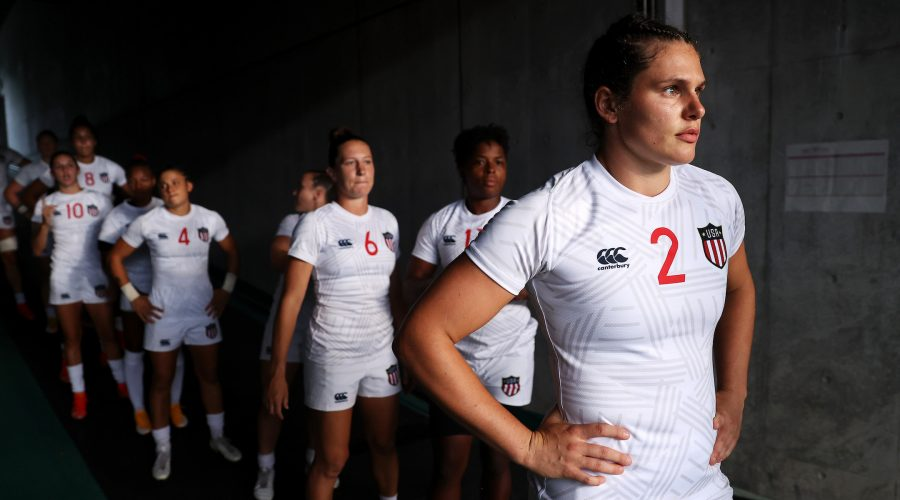 Ilona Maher looks out as she prepares to lead the U.S. women's rugby team out onto the field for a match against Japan on day six of the Tokyo Olympics, July 29, 2021. (Dan Mullan/Getty Images)