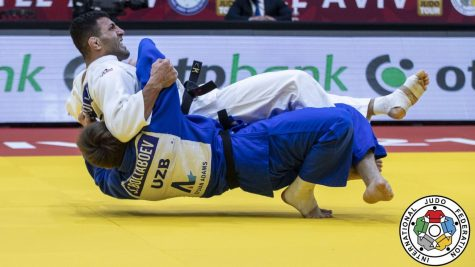 Iranian judoka Saeid Mollaei (in white) competes at the International Judo Federation's Grand Slam in Tel Aviv. Photo by Sabau Gabriela/International Judo Federation