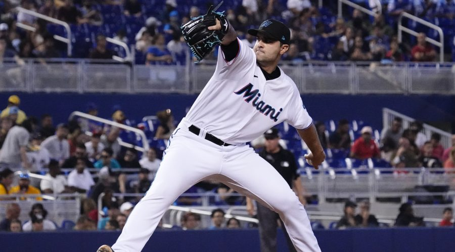 Richard+Bleier+of+the+Miami+Marlins+delivers+a+pitch+in+a+game+against+the+San+Diego+Padres+at+LoanDepot+park+in+Miami%2C+July+25%2C+2021%2C+as+the+team+celebrated+a+Jewish+Heritage+Night.+%28Mark+Brown%2FGetty+Images%29