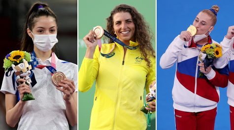 Among the Jewish athletes to win medals in Tokyo are, left to right, Avishag Semberg (Javier Soriano/AFP via Getty), Jessica Fox and Lilia Akhaimova. (Semberg photo: Javier Soriano/AFP via Getty; Fox photo: Patrick Smith/Getty; Akhaimova photo: Jamie Squire/Getty)