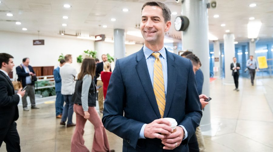Sen. Tom Cotton of Arkansas speaks with reporters as he arrives in the Capitol for a vote, July 15, 2021. (Bill Clark/CQ-Roll Call, Inc via Getty Images)