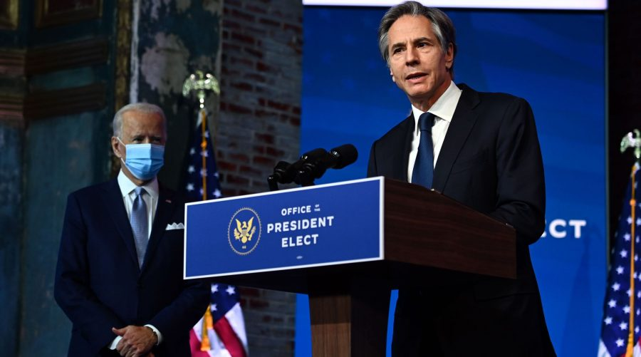 Then-secretary of state nominee Tony Blinken speaks at a Cabinet announcement event in Wilmington, Del., as President-elect Joe Biden looks on, Nov. 24, 2020. (Chandan Khanna/AFP via Getty Images)