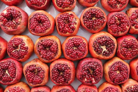Pomegranates in Shuk HaCarmel, Tel Aviv, June 2, 2019. Photo by Anna Wachspress