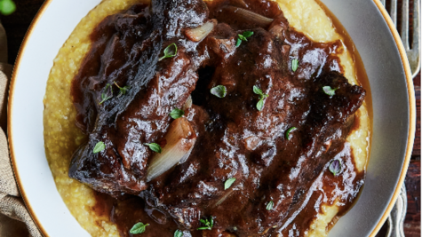 Red Wine Braised Short Ribs with Creamy Polenta