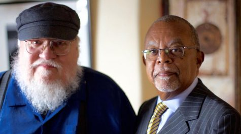 George R.R. Martin, left, shown with Finding Your Roots host Henry Louis Gates, Jr., was shocked by his DNA test. (Courtesy of McGee Media/Ark Media)