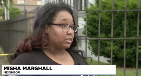 A KMOV reporter interviewed Misha Marshall in the aftermath of a shooting in her neighborhood. PHOTO: SCREEN CAPTURE FROM KMOV WEBSITE