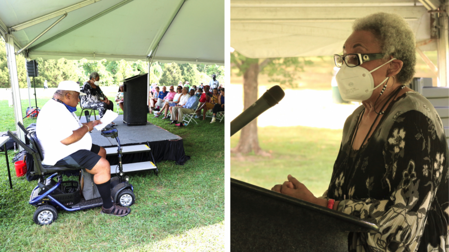 Allen Venable II (left) and Rossalind Woodhouse (right) speak at a Sept. 18 ceremony to rededicate a Creve Coeur park as Dr. H. Phillip Venable Memorial Park in honor of Allen and Rossalinds uncle, who was not able to move into the suburb because of residents discriminatory efforts. (Photos by Bill Motchan)