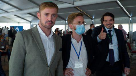 Marcel Goldhammer, left, Julian Potthast and Robert Eschricht at an Alternative for Germany event in Berlin, June 14, 2021. (Courtesy of Goldhammer)