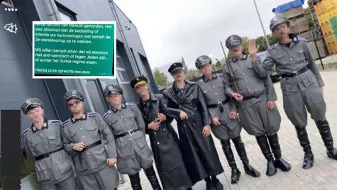 "Men wear Nazi uniforms during a COVID-19 protest in the Netherlands city of Urk, Sept. 10, 2021. (""Hart van Nederland"")"