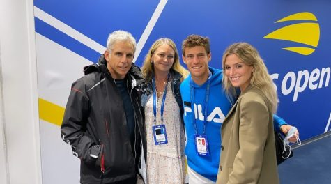 Left to right: Ben Stiller, Christine Taylor, Diego Schwartzman and Eugenia De Martino at the U.S. Open in New York. (via @eugedemartino Instagram stories)