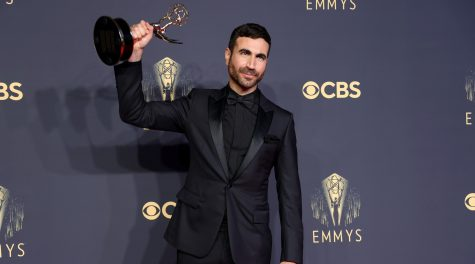 Brett Goldstein, winner of best supporting actor in a comedy series for Ted Lasso, poses in the press room during the 2021 Emmy Awards, Sept. 19, 2021. (Rich Fury/Getty Images)
