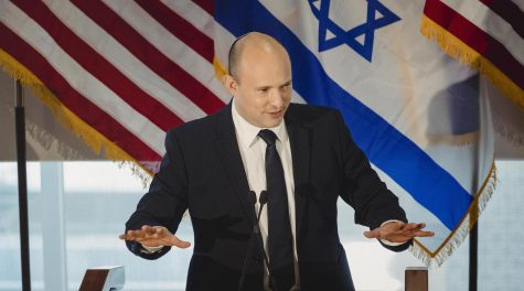 Israeli Prime Minister Naftali Bennett speaks to American Jewish leaders in New York City on Sept. 27, 2021. (Courtesy of the Jewish Federations of North America/Sara Naomi Lewkowicz)