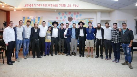 Students at a secular high school with haredi visitors from the unity project of Be a Mensch Foundation. Photo courtesy of Be a Mensch Foundation