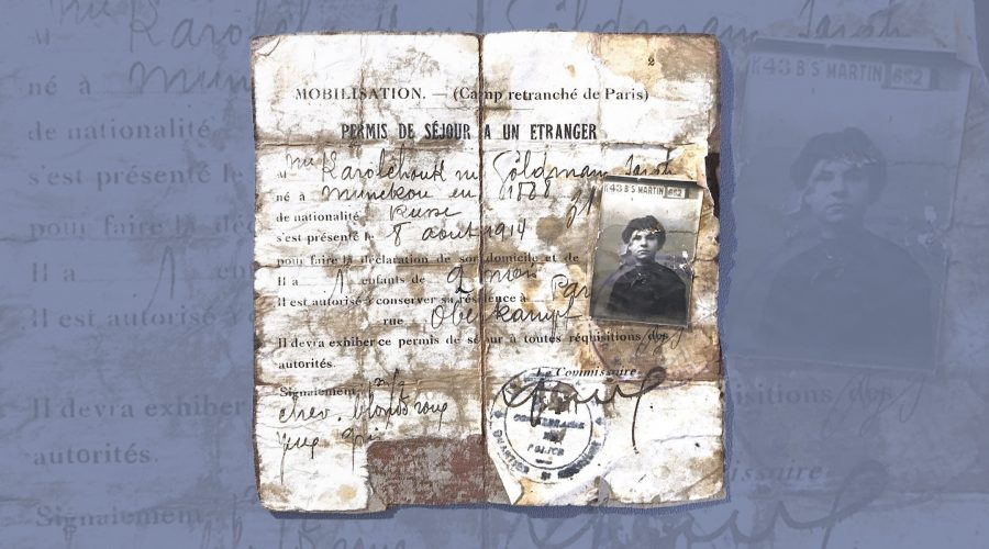 The authors grandmother's French residence permit from 1914 includes a spelling of her husband's original name, Karolchouk, before he and his brothers changed it to Carroll. (Courtesy)