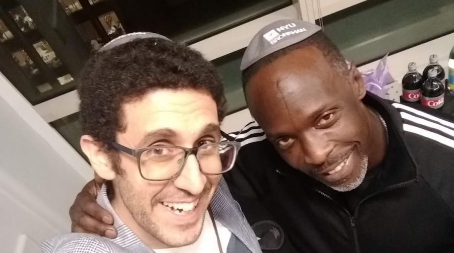 Rabbi Joe Wolfson, left, and Michael K. Williams brought the actors prison documentary, Raised in the System, to NYUs Bronfman Center in 2019. (Courtesy of Wolfson)