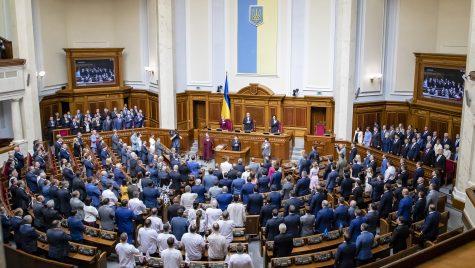 Ukrainian President Volodymyr Zelensky addresses parliament in Kyiv, Ukraine,May 20, 2019. (U.S. Embassy Kyiv, Ukraine/Flickr)