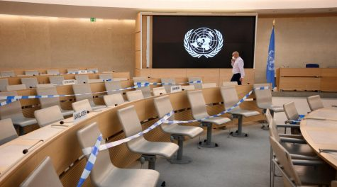 Seats are prepared for a session of the U.N. Human Rights Council in Geneva, Switzerland, Sept. 13, 2021. (Fabrice Coffrini/AFP via Getty Images)