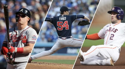 The three Jewish stars of the 2021 World Series, from left: Joc Pederson, Max Fried and Alex Bregman. (Getty Images)