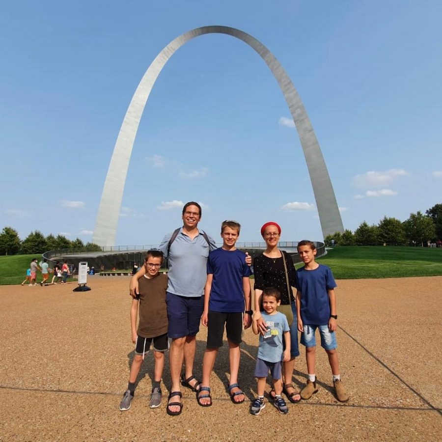 The Saville family enjoys a summer day at the Arch three months prior to their move from Jerusalem to St. Louis.