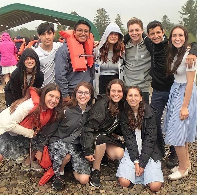 Teens pose for a photo at Camp Stone, an Orthodox sleepaway camp in Sugar Grove, Penn.