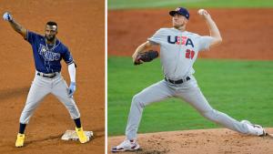 Left: Randy Arozarena (Bob DeChirara/USA Today Sports) Right: Matthew Liberatore (Sam Navarro/USA Today Sports)
