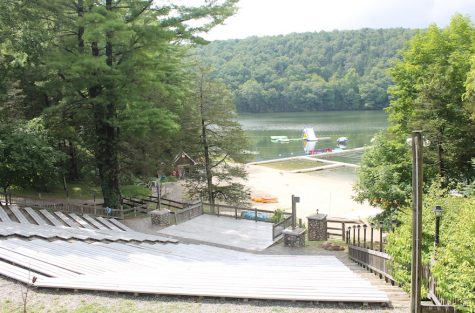 The waterfront at Camp Ramah in the Berkshires includes a wide variety of inflatable toys and surf kayaks. (Uriel Heilman)