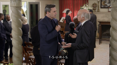 Jon Hamm and Larry David discuss Yiddish words during the first episode of Season 11 of Curb Your Enthusiasm. (Screenshot from HBO)