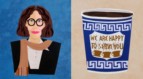 Sam Sidneys felt portraits of Fran Lebowitz, left, and an iconic New York City coffee cup are featured in New York Never Felt So Good, at Manhattans Eerdmans gallery. (Courtesy of Eerdmans New York)