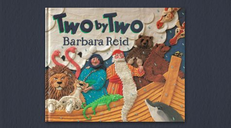 Two By Two by Barbara Reid is a whimsical version of the Noahs Ark story. (Scholastic)