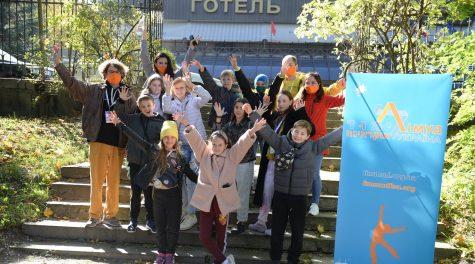 Children celebrate at a Limmud FSU conference in Lviv, Ukraine, October 2021. (Boris Bukhman)